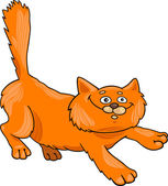 运行红只毛绒绒的猫 — 图库矢量图片