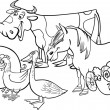 Group of cartoon farm animals for coloring — Stockvektor
