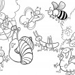 Stock Vector: Cartoon insects on the meadow for coloring