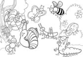 Cartoon insects on the meadow for coloring — Stock Vector