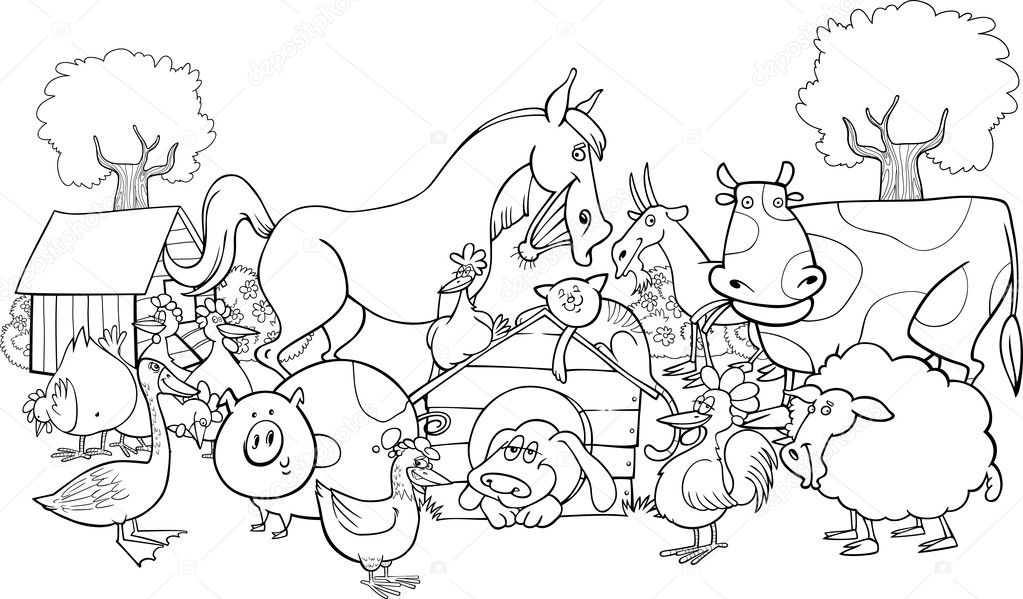 Coloring Book With Farm Animals 219