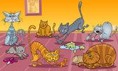 Muitos gatos em casa — Vetorial Stock