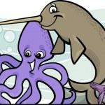 Cartoon sea life animals design — Stock Vector