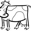 Cartoon doodle of farm cow for coloring - Stock Vector