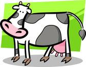 Doodle di cartone animato di mucca della fattoria — Vettoriale Stock
