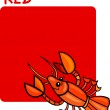 Color Red and Crayfish Cartoon — Stock Vector
