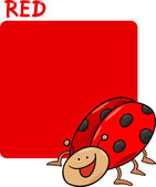 Color Red and Ladybug Cartoon — Stock Vector