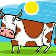 Cartoon illustration of farm cow — Stock Vector