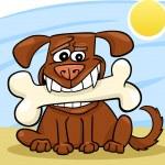 Cartoon Dog with big bone — Stock Vector