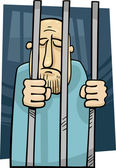 Cartoon illustration of jailed man — Stock Vector