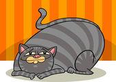 Tabby fat cat cartoon — Stock Vector