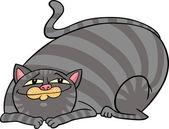 Fett tabbykatt cartoon — Stockvektor