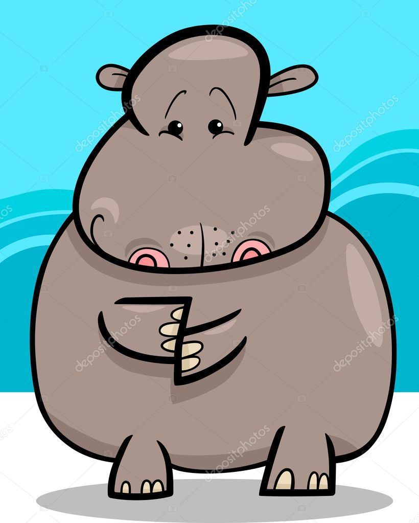 Cartoon Humorous Illustration of Cute Hippo or Hippopotamus  Stock Vector #11696890