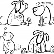 Dogs or puppies for coloring - Image vectorielle
