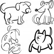 Dogs or puppies for coloring — Stock Vector