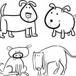 Dogs or puppies for coloring - Stockvektor