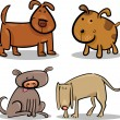 Cute cartoon dogs or puppies set - Image vectorielle