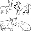 Farm animals set for coloring — Stock Vector