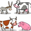Cute cartoon farm animals set — Stock Vector