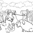 Stock Vector: Farm animals for coloring book