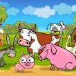 Cartoon rural scene with farm animals — Vector de stock