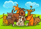 Cartoon Group of Cute Dogs — Stock Vector