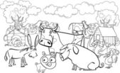 Farm animals for coloring book — Stock Vector
