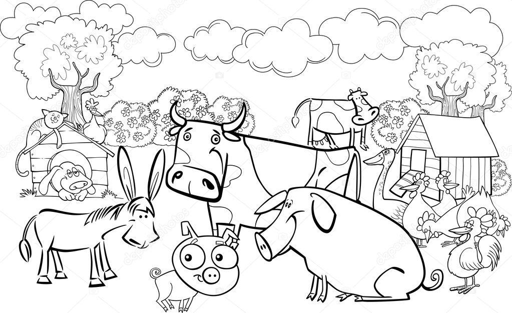 animales de granja para colorear libro vector de stock