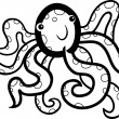 Cartoon octopus for coloring book — Stock Vector