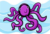 Cartoon illustration of cute octopus — Stock Vector