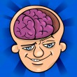 Brainy man cartoon illustration - Stok Vektör