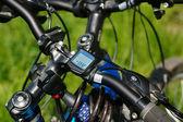 велосипед компьютер на руле — Стоковое фото