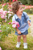 Baby girl portrait outdoor in spring — Stock Photo