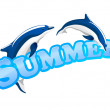 Summer sign with dolphins — Stock Vector