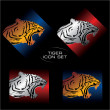 Tiger icon set - Stock Vector