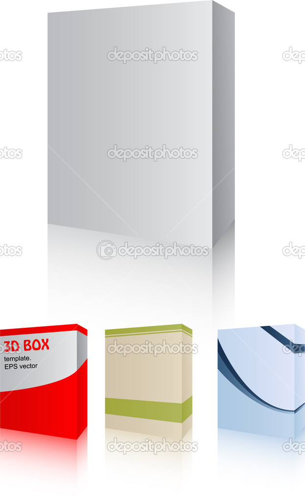 Vector pack with four 3D software box - easy editable  — Stock Vector #11301882