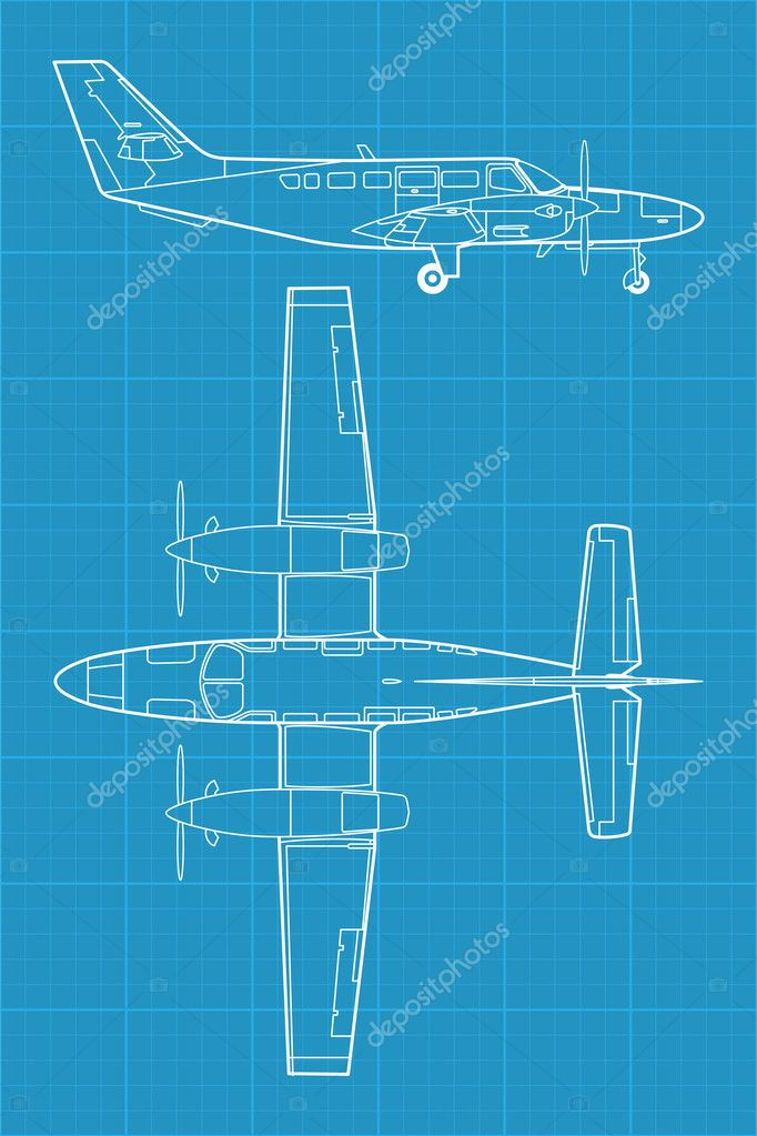 High detailed vector illustration of small modern civil airplane  — Stock Vector #11394847