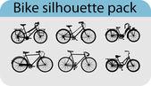 Vector silhouettes de vélo — Vecteur