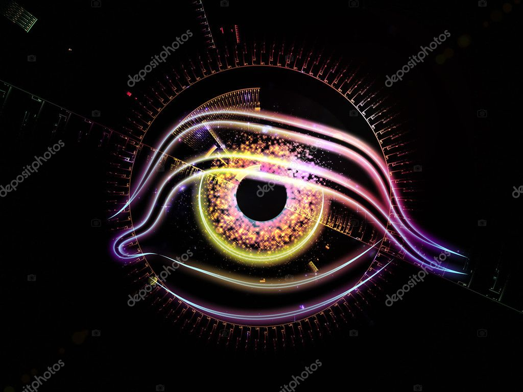 Composition of eye outlines, fractal and abstract design elements on the subject of modern technologies, mechanical progress, artificial intelligence, virtual reality and digital imaging  Stock Photo #11241555