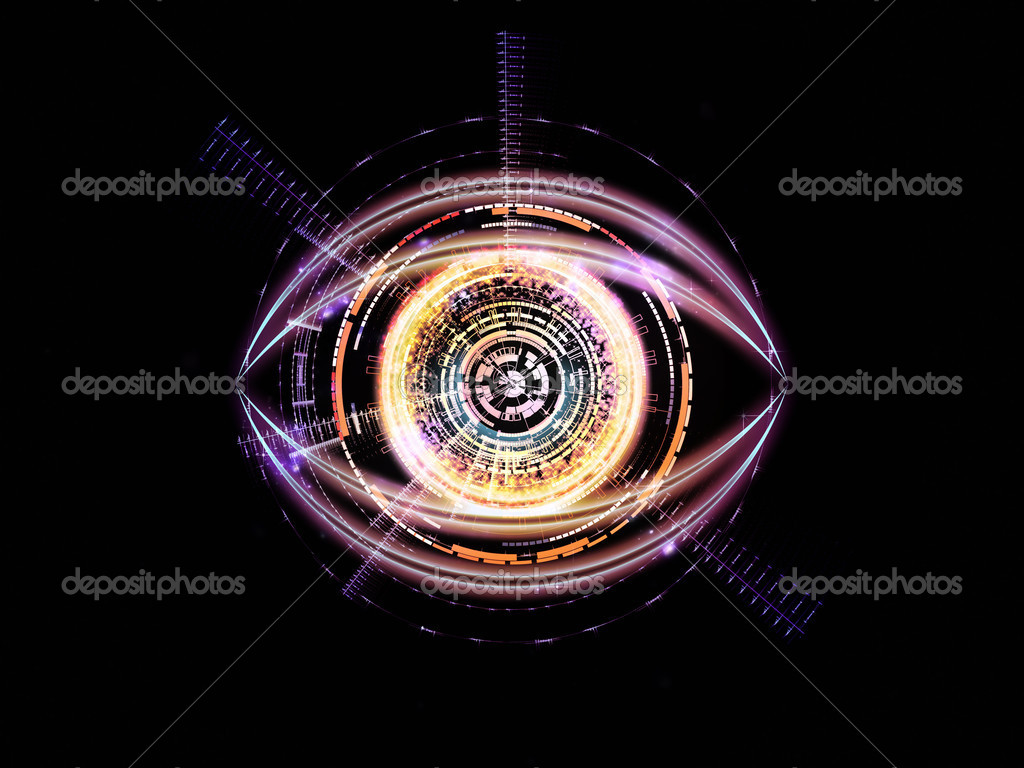 Background design of eye outlines, fractal and abstract design elements on the subject of modern technologies, mechanical progress, artificial intelligence, virtual reality and digital imaging  Stock Photo #11422105