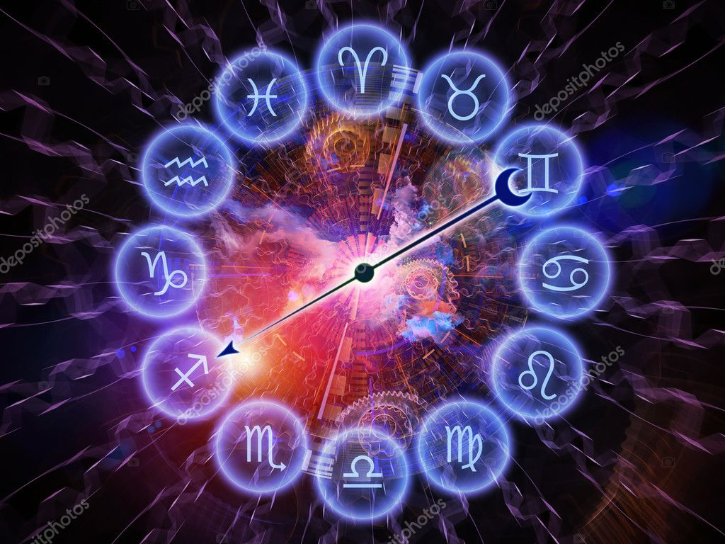 Composition of Zodiac symbols, gears, lights and abstract design elements as a concept metaphor on subject of astrology, child birth, fate, destiny, future, prophecy, horoscope and occult beliefs — Stock Photo #11424327