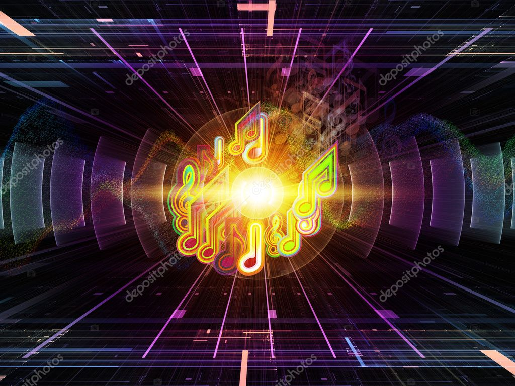 Composition of musical notes, perspective fractal grids, lights, wave and sine patterns with metaphorical relationship to music, sound equipment and processing, audio performance and entertainment — Stock Photo #11474518