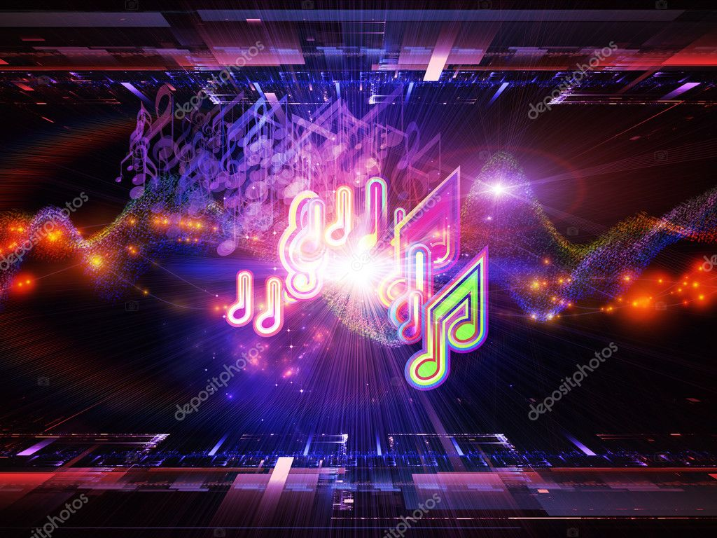 Abstract design made of musical notes, perspective fractal grids, lights, wave and sine patterns on the subject of music, sound equipment and processing, audio performance and entertainment  Stock Photo #11474532