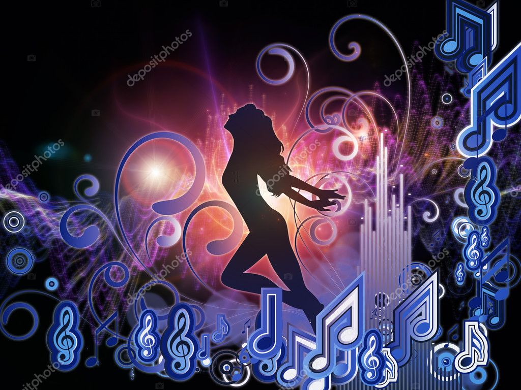 Background design of girl silhouette, notes, lights and abstract design elements on the subject of music, song, performance and dance — Stock Photo #11840658