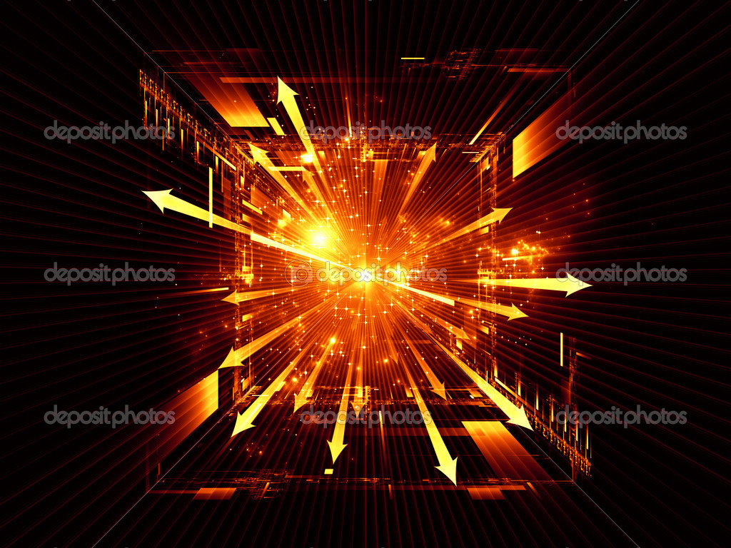 Background design of perspective arrows, geometric grids, lights and fractal nebulae on the subject of new technologies, explosive growth, theoretical physics, geometry and math — Stock Photo #12136487