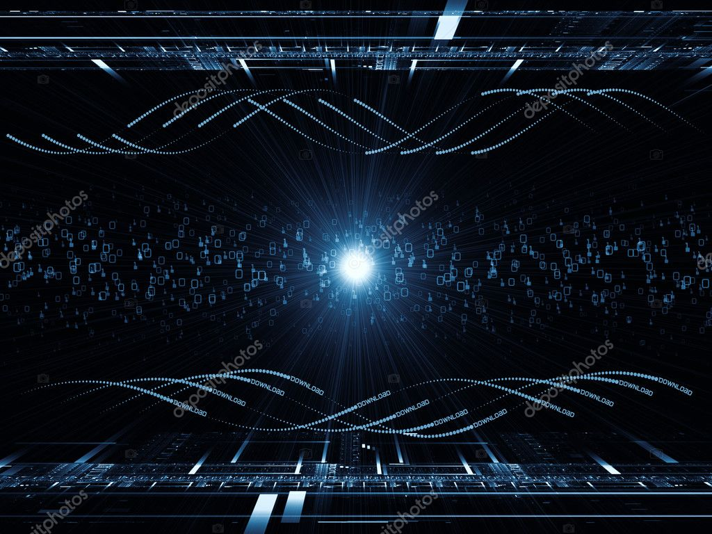 Abstract design made of fractal grids, lights  and technological elements on the subject of science, computing and modern technologies  Stock Photo #12280063