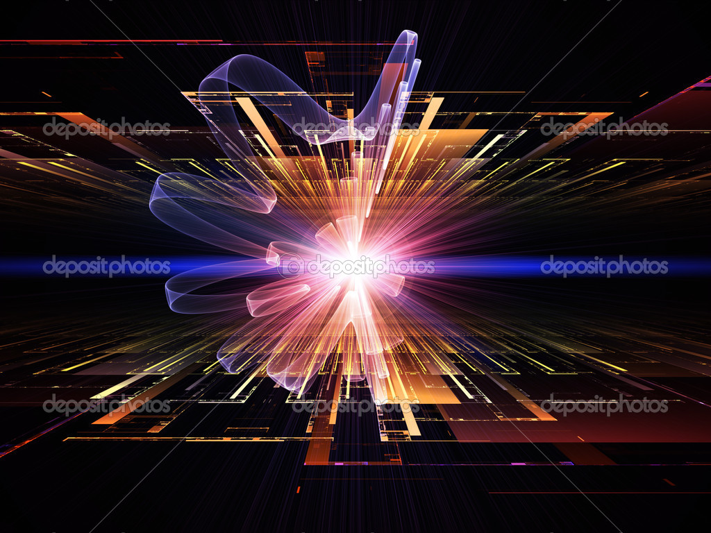 Composition of perspective fractal grids, lights, mathematical wave and sine patterns with metaphorical relationship to modern technologies, science of energy, signal processing, music and entertainment — Stock Photo #12413096