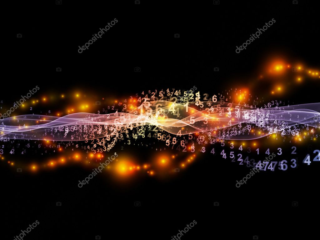 Creative arrangement of abstract sine waves, numbers and design elements to act as complimentary graphic for subject of modern computing, virtual reality and signal processing — Stock Photo #12414135