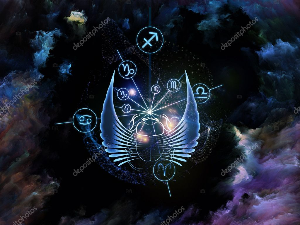 Composition of scarab symbols, shapes and abstract design elements on the subject of astrology, destiny, fate, horoscope, future and the occult — Stock Photo #12414141