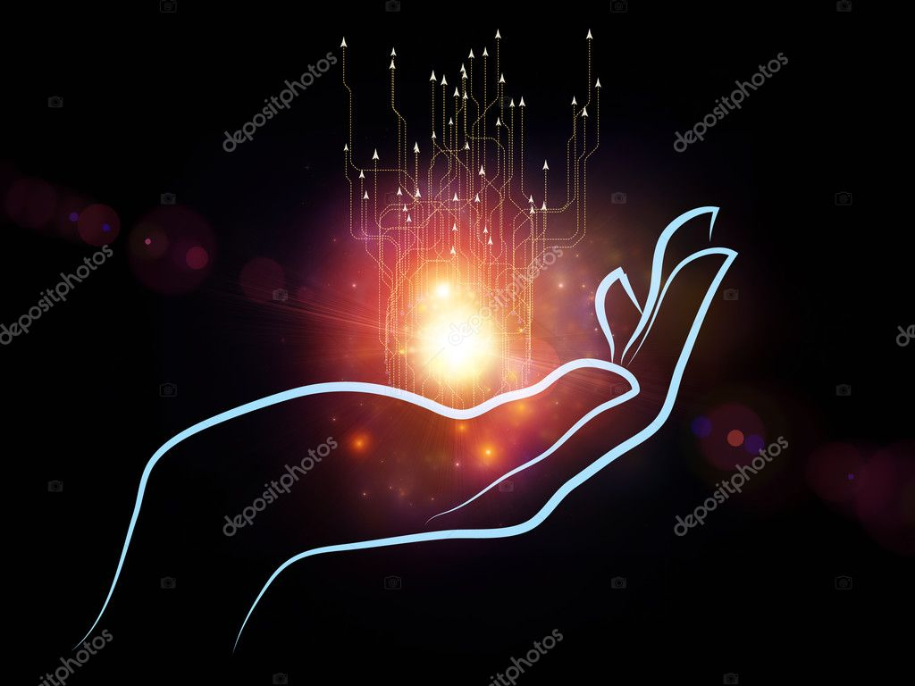 Composition of human hand and technological elements with metaphorical relationship to science, alternative energy and portable technologies — Stock Photo #12414285